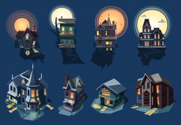 Upiorny dom nawiedzony zamek z mrocznym przerażającym koszmarem na halloweenowym świetle tajemnicy ilustracji nocny zestaw przerażających budynków na tle