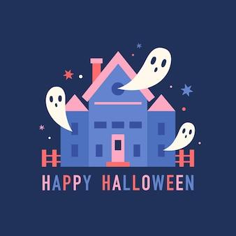 Upiorny dom z zabawnymi duchami halloweenową sceną wektorową ilustracją
