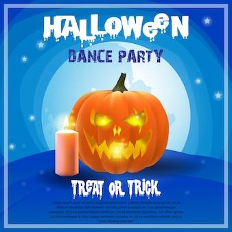 Upiorny halloween plakat z dyni