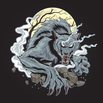 Upiorny horor wolf halloween