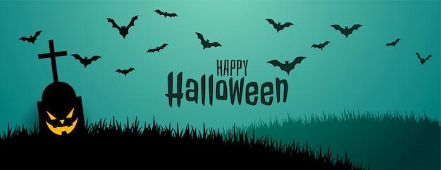 Upiorny i przerażający banner halloween z latającymi nietoperzami