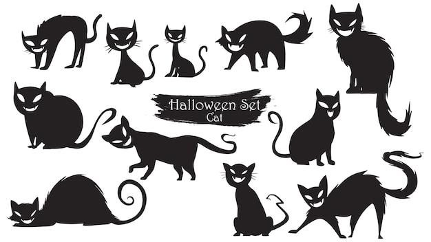 Upiorny koty sylwetka zbiór halloween