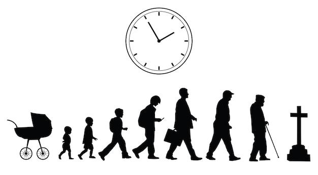 Upływ czasu, koncepcja wektorowa na białym tle