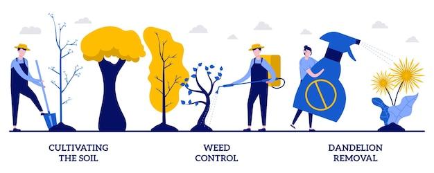 Uprawa gleby, zwalczanie chwastów, koncepcja usuwania mniszka lekarskiego z małymi ludźmi. zestaw ilustracji wektorowych ochrony ogrodu. utrzymanie ogrodnictwa, chemia w sprayu, metafora usług pielęgnacji trawników.
