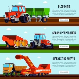 Uprawa ziemniaków płaskie poziome sztandary z maszynami rolniczymi do orki przygotowania ziemi i zbioru na białym tle