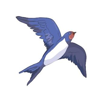Uproszczony wizerunek latającej jaskółki na białym tle.