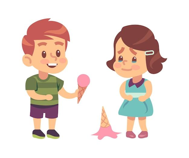 Uprzejme dzieci. śliczny chłopak traktuje wdzięczną dziewczynę lody jak symbol dobrych manier dla dzieci wektor koncepcja przyjaźni