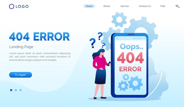Ups 404 błąd płaski szablon strony docelowej strony internetowej