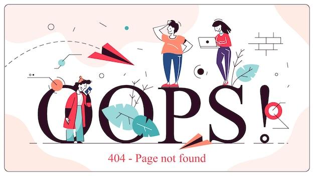 Ups 404 nie znaleziono ilustracji koncepcyjnej strony błędu