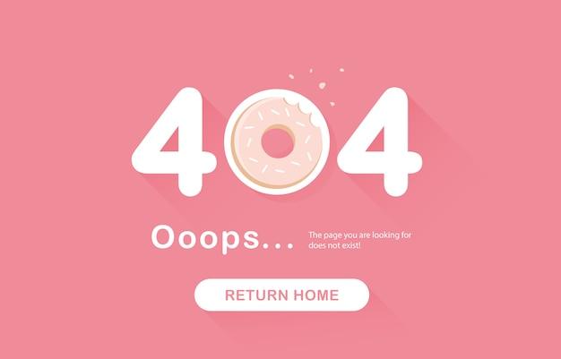 Ups błąd 404, nie znaleziono strony. wróć baner. błąd systemu, uszkodzona strona. ugryziony pączek, jedzenie. strona z elementami projektu. na stronie internetowej. raport problemu różowy. .