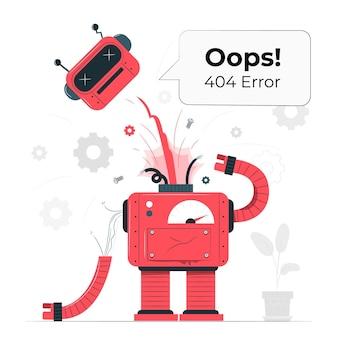 Ups! błąd 404 z ilustracją zepsutego robota