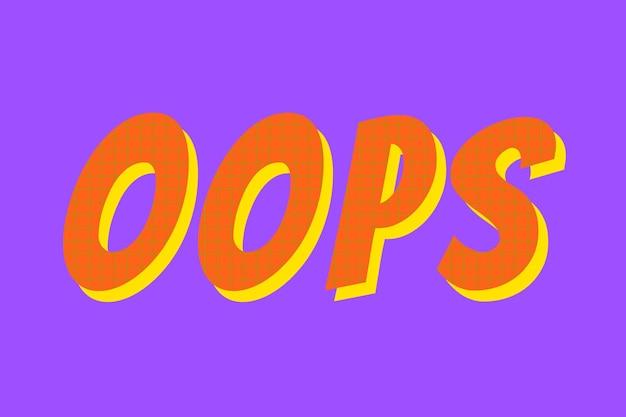 Ups słowo kolorowa typografia