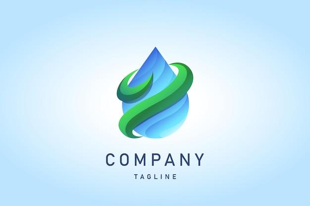 Upuść niebieską wodę z zielonym logo gradientu wiatru