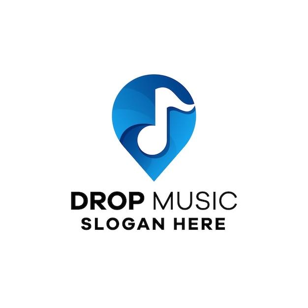 Upuść szablon logo gradientu muzycznego