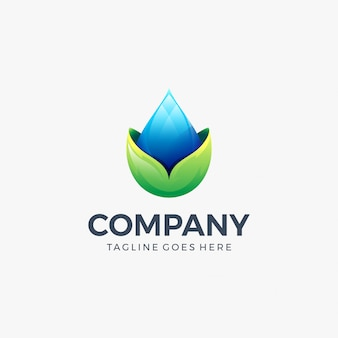 Upuść wodę pozostawia ikona logo szablon projektu