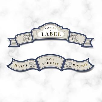 Uratować datę vintage wesele zaproszenie etykiety wektor zestaw