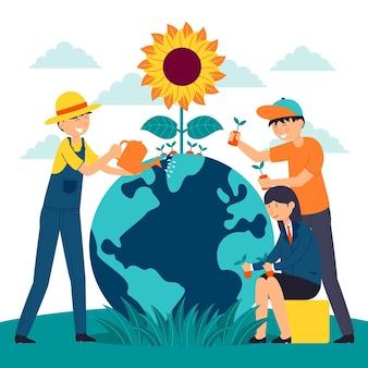 Uratuj ilustrowaną koncepcję planety