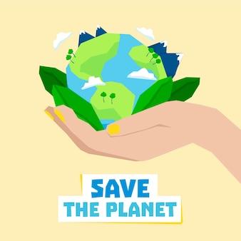 Uratuj koncepcję planety ręką trzymającą ziemię