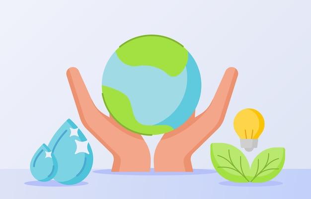 Uratuj naturę, trzymaj rękę, kropla ziemi, woda, liść, żarówka