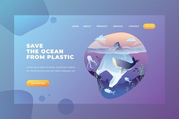 Uratuj ocean przed plastikiem — strona docelowa wektorowa