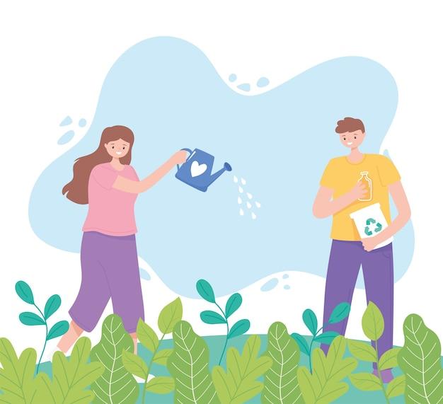 Uratuj planetę, dziewczynę z podlewaniem cukierka i chłopca z recyklingu produktów na ilustracji trawy