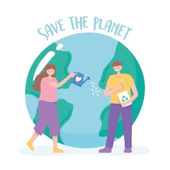 Uratuj planetę, kobietę i mężczyznę, opiekującą się ziemią ilustracja kreskówka