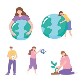 Uratuj planetę, ludzie dbają o mapę ziemi, sadzenie i więcej ilustracji