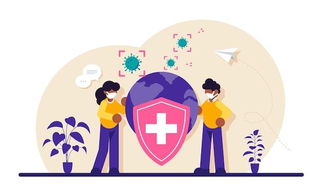 Uratuj planetę. ochrona przed koronawirusem lub pandemią. mężczyzna i kobieta stoją w pobliżu obrazu planety i tarczy.