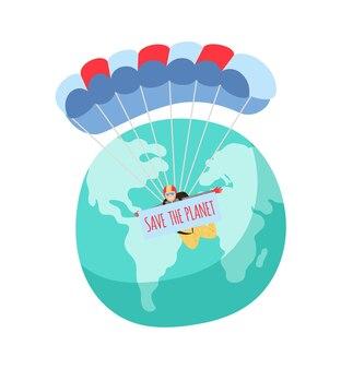 Uratuj planetę. spadochroniarze lecący nad ziemią z tabliczką.