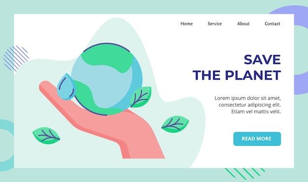 Uratuj planetę za rękę trzymającą kampanię liści kropli wody ziemi