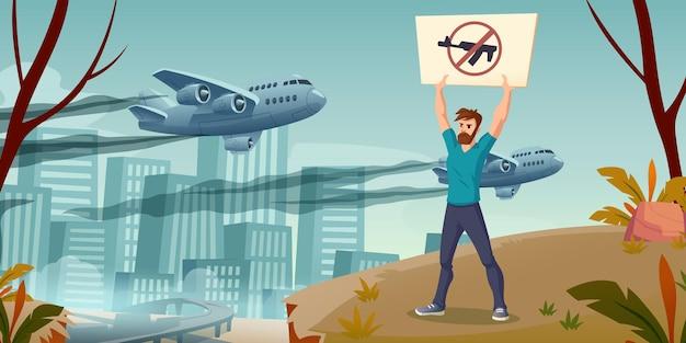 Uratuj świat koncepcja człowieka ze skrzyżowanym pistoletem transparent stojący samotnie na tle pejzażu miejskiego z wojskiem...