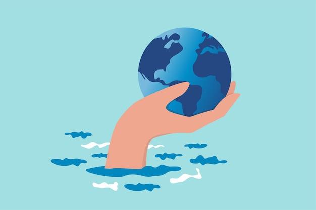 Uratuj świat przed zmianą klimatu i problemem globalnego ocieplenia, chroń naszą planetę przed topniejącą powodzią lodową lub koncepcją katastrofy, ręczną ofertą trzymającą świat lub kulę ziemską nad klimatycznym oceanem powodziowym.