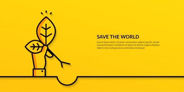 Uratuj świat ręką trzymając roślinę, płaski ekologia natura transparent
