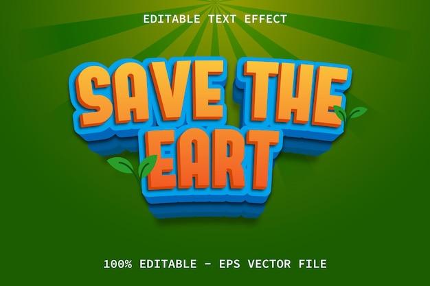 Uratuj ziemię z edytowalnym efektem tekstowym w stylu kreskówki