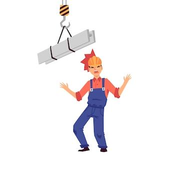 Uraz przy pracy głowy konstruktora i pracownika w kasku, wypadek na budowie. mężczyzna uderzył głową w hełm o metalową belkę dźwigu, pojęcie obrażeń w pracy. ilustracja wektorowa na białym tle płaskie kreskówka