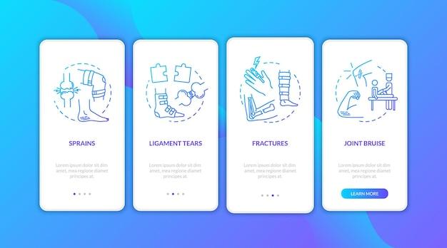 Urazy stóp i dłoni na ekranie strony aplikacji mobilnej z koncepcjami. siniak stawu, uraz ścięgna 4 kroki instrukcje graficzne. szablon wektor interfejsu użytkownika z ilustracjami w kolorze rgb.