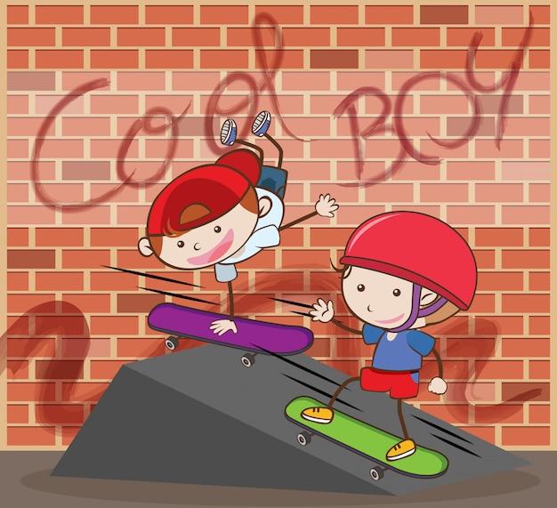 Urban boy skateboarding brick background