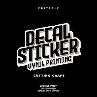Urban decal sticker druk winylowy czarny efekt tekstowy edytowalny wektor premium