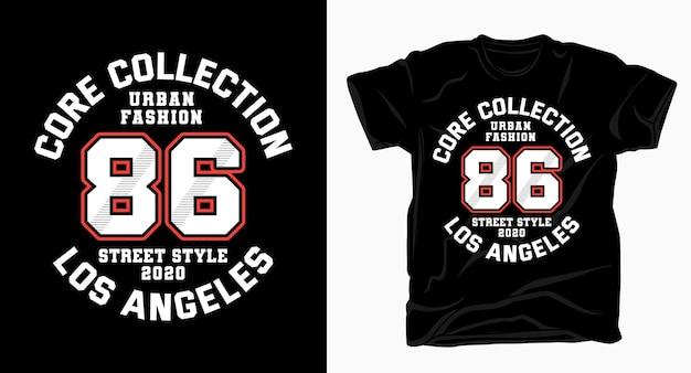 Urban fashion osiemdziesiąt sześć varsity typografia na t-shirt