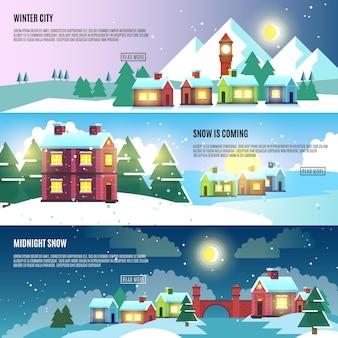 Urban, miasto, pejzaż zimowy wektor zestaw banerów. architektura miejski śnieg, baner śnieżny pejzaż miejski, śnieg miejski budynek, ilustracja miejskiego śniegu na zewnątrz