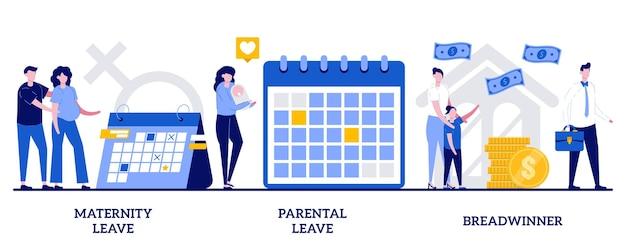 Urlop macierzyński i rodzicielski, koncepcja żywiciela rodziny z malutkimi ludźmi. opieka nad dziećmi i zestaw ilustracji wektorowych rodziny. domowe biuro, kobieta w ciąży, noworodek, rodzina potrzebuje wsparcia metafory.