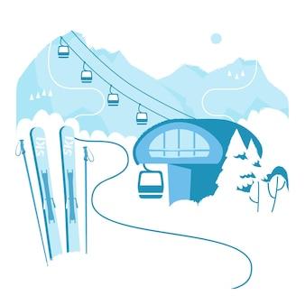 Urlop w ośrodku narciarskim z wyciągiem narciarskim zimowe wakacje na świeżym powietrzu sport w alpach