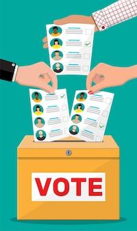 Urna i dokument z kandydatami. ręka z rachunkiem wyborczym. głosuj papier z twarzami.