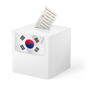Urna z papierem do głosowania. korea południowa