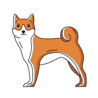 Urocza akita lub shiba inu. ładny rasowy pies lub szczeniak na białym tle. śmieszne urocze zwierzę domowe lub zwierzę domowe rasy japońskiej. ilustracja wektorowa kolorowe w stylu sztuki nowoczesnej linii.