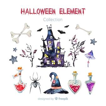 Urocza akwarela halloween element kolekcja