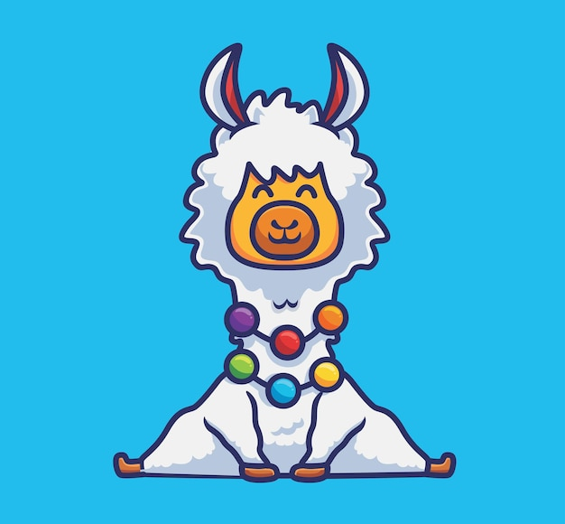 Urocza alpaka siedząca z kolorowym naszyjnikiem. koncepcja kreskówka natura zwierząt ilustracja na białym tle. płaski styl nadaje się do naklejki icon design premium logo vector. postać maskotki