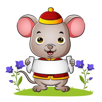 Urocza chińska mysz trzyma pusty sztandar ilustracji