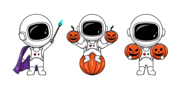 Urocza czarownica astronauta i astronauta z halloweenowymi dyniami