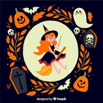Urocza czarownica płaskie tło hallowen